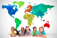 Children of world under global map
